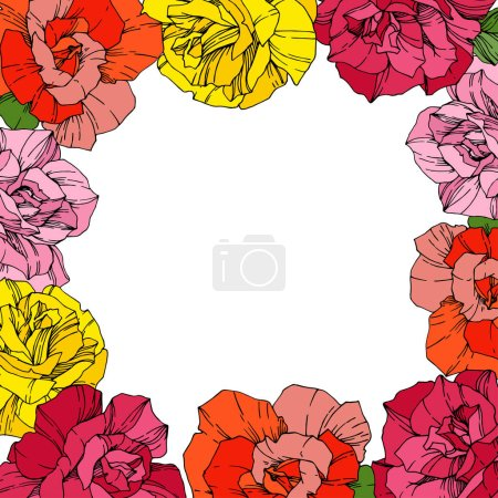 Illustration for Vector Roses. Floral botanical flowers. Red, pink and yellow engraved ink art. Floral border square illustration. - Royalty Free Image