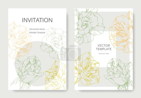 Illustration for White cards with rose flowers. Wedding cards with floral decorative engraved ink art. Thank you, rsvp, invitation elegant cards illustration graphic set banners. - Royalty Free Image