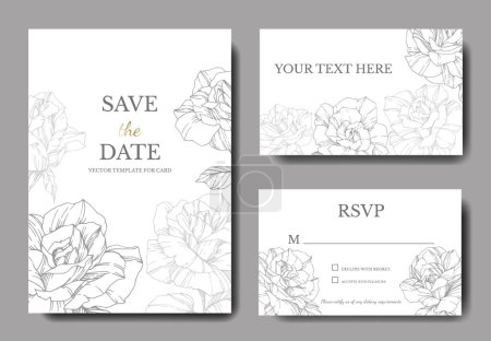 White cards with rose flowers. Wedding cards with floral decorative engraved ink art. Thank you, rsvp, invitation elegant cards illustration graphic set banners.