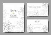 White cards with rose flowers Wedding cards with floral decorative engraved ink art Thank you rsvp invitation elegant cards illustration graphic set banners