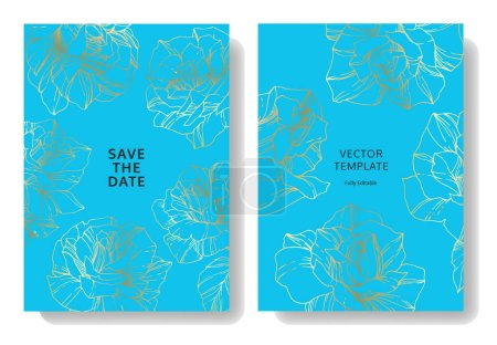Illustration for Vector Blue cards with rose flowers. Wedding cards with floral decorative engraved ink art. Thank you, rsvp, invitation elegant cards illustration graphic set. - Royalty Free Image
