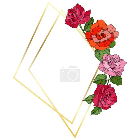 Illustration for Vector Roses. Orange, pink and yellow engraved ink art. Frame golden crystal. Geometric polygon crystal shape. - Royalty Free Image