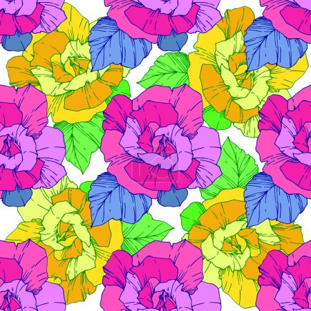 Illustration for Beautiful vector roses. Wild spring leaves. Yellow and pink engraved ink art. Seamless background pattern. Fabric wallpaper print texture. - Royalty Free Image