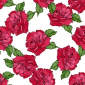 Beautiful vector roses Wild spring leaves Red color engraved ink art Seamless background pattern Fabric wallpaper print texture