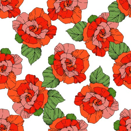 Illustration for Beautiful vector roses. Wild spring leaves. Orange color engraved ink art. Seamless background pattern. Fabric wallpaper print texture. - Royalty Free Image