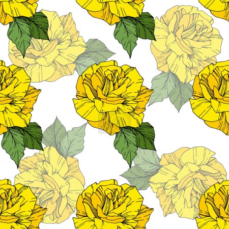Illustration for Beautiful vector roses. Wild spring leaves. Yellow color engraved ink art. Seamless background pattern. Fabric wallpaper print texture. - Royalty Free Image