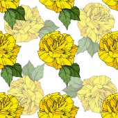 Beautiful vector roses Wild spring leaves Yellow color engraved ink art Seamless background pattern Fabric wallpaper print texture