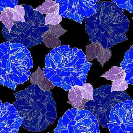 Illustration for Beautiful vector roses. Wild spring leaves. Blue engraved ink art. Seamless background pattern. Fabric wallpaper print texture. - Royalty Free Image