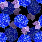 Beautiful vector roses Wild spring leaves Blue engraved ink art Seamless background pattern Fabric wallpaper print texture
