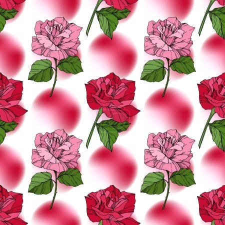 Illustration for Beautiful vector roses. Red color engraved ink art. Seamless background pattern. Fabric wallpaper print texture. - Royalty Free Image