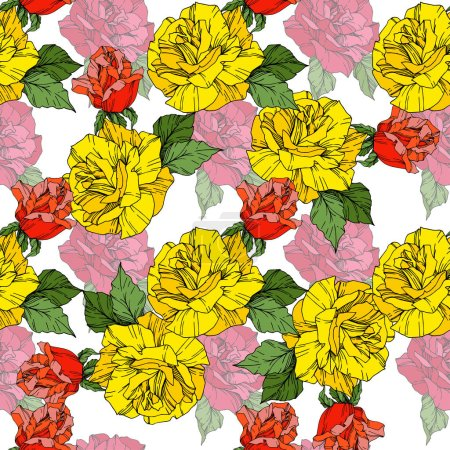 Illustration for Beautiful vector roses. Orange and yellow engraved ink art. Seamless background pattern. Fabric wallpaper print texture. - Royalty Free Image