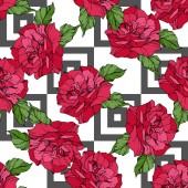 Beautiful vector roses Red color engraved ink art Seamless background pattern Fabric wallpaper print texture