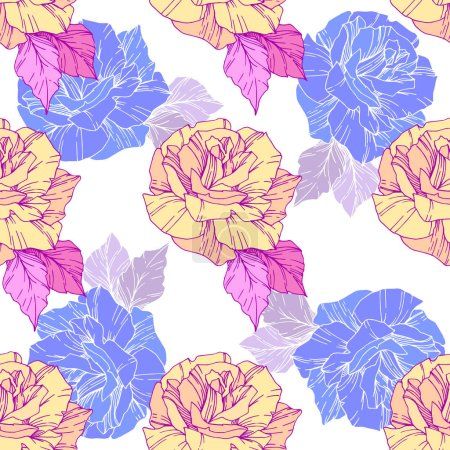 Illustration for Beautiful vector roses. Golden and blue engraved ink art. Seamless background pattern. Fabric wallpaper print texture. - Royalty Free Image