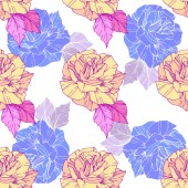 Beautiful vector roses Golden and blue engraved ink art Seamless background pattern Fabric wallpaper print texture