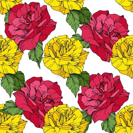 Illustration for Beautiful vector roses. Pink and yellow engraved ink art. Seamless background pattern. Fabric wallpaper print texture. - Royalty Free Image