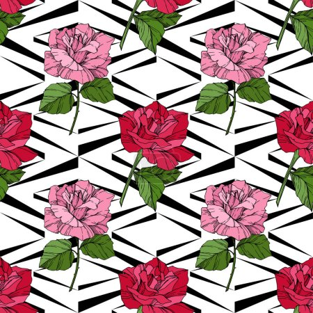Beautiful vector roses. Red color engraved ink art. Seamless background pattern. Fabric wallpaper print texture.