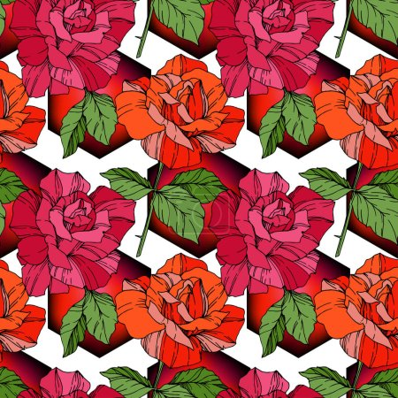 Illustration for Beautiful vector roses. Red and orange color engraved ink art. Seamless background pattern. Fabric wallpaper print texture. - Royalty Free Image