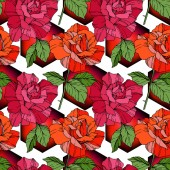 Beautiful vector roses Red and orange color engraved ink art Seamless background pattern Fabric wallpaper print texture