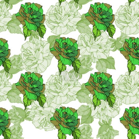 Illustration for Beautiful vector roses. Green color engraved ink art. Seamless background pattern. Fabric wallpaper print texture. - Royalty Free Image