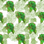 Beautiful vector roses Green color engraved ink art Seamless background pattern Fabric wallpaper print texture