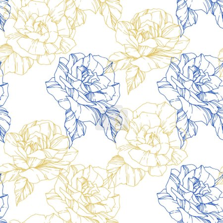 Illustration for Beautiful vector roses. Golden and blue color engraved ink art. Seamless background pattern. Fabric wallpaper print texture. - Royalty Free Image