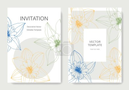 Illustration for Vector Narcissus flowers. Wedding cards with floral decorative borders. Yellow engraved ink art. Thank you, rsvp, invitation elegant cards illustration graphic set banners. - Royalty Free Image
