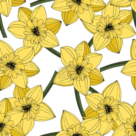 Illustration for Vector Narcissus flowers. Yellow engraved ink art. Seamless pattern. Fabric wallpaper print texture on white background. - Royalty Free Image