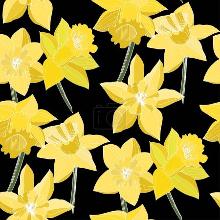 Illustration for Vector Narcissus flowers. Yellow engraved ink art. Seamless background pattern. Fabric wallpaper print texture on black background. - Royalty Free Image