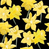 Vector Narcissus flowers Yellow engraved ink art Seamless background pattern Fabric wallpaper print texture on black background