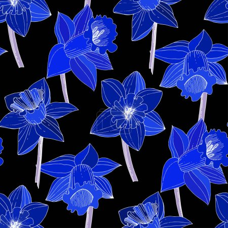 Illustration for Vector Narcissus flowers. Blue engraved ink art. Seamless background pattern. Fabric wallpaper print texture on black background. - Royalty Free Image