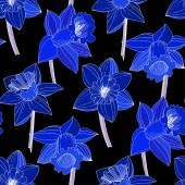 Vector Narcissus flowers Blue engraved ink art Seamless background pattern Fabric wallpaper print texture on black background