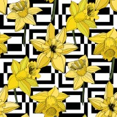 Vector Narcissus flowers Yellow engraved ink art Seamless pattern Fabric wallpaper print texture on white background