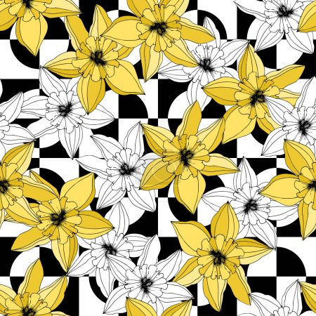 Vector Narcissus flowers. Yellow engraved ink art. Seamless pattern. Fabric wallpaper print texture on white background.