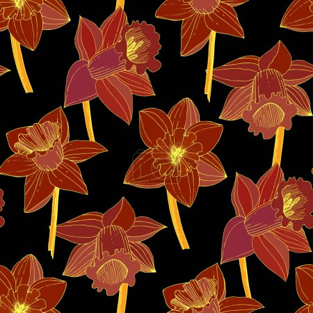 Illustration for Vector Narcissus flowers. Red engraved ink art. Seamless background pattern. Fabric wallpaper print texture on black background. - Royalty Free Image