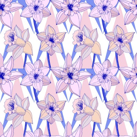 Illustration for Vector Narcissus flowers. Purple engraved ink art. Seamless background pattern. Fabric wallpaper print texture on white background. - Royalty Free Image