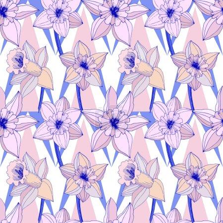 Illustration pour Fleurs de Narcisse de vecteur. Art violet encre gravé. Motif de fond transparente. Papier peint tissu impression texture sur fond blanc. - image libre de droit