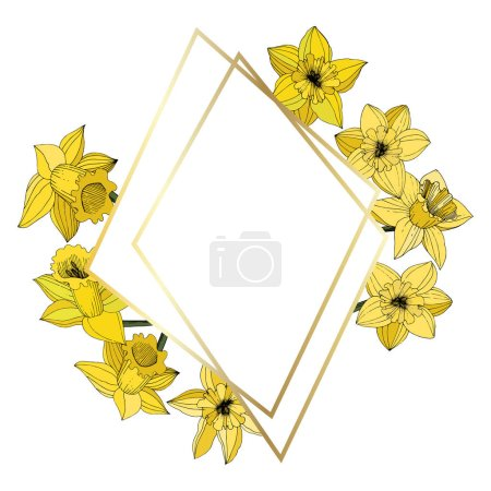 Illustration for Vector Narcissus flowers. Yellow engraved ink art. Frame border ornament on white background polyhedron mosaic shape. - Royalty Free Image
