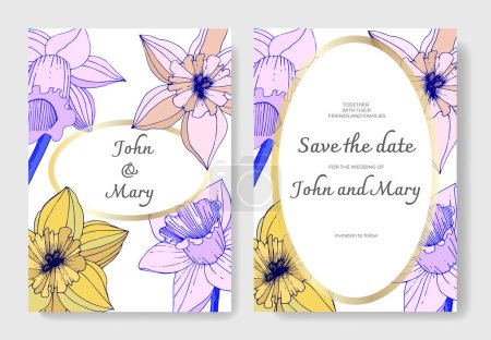 Illustration for Vector Narcissus flowers. Wedding cards with floral decorative borders. Yellow and purple engraved ink art. Thank you, rsvp, invitation elegant cards illustration graphic set. - Royalty Free Image