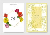 "Постер, картина, фотообои ""White cards with rose flowers. Wedding cards with floral decorative engraved ink art. Thank you, rsvp, invitation elegant cards illustration graphic set banners. """