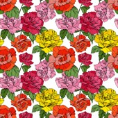 Beautiful vector roses Orange and yellow engraved ink art Seamless background pattern Fabric wallpaper print texture