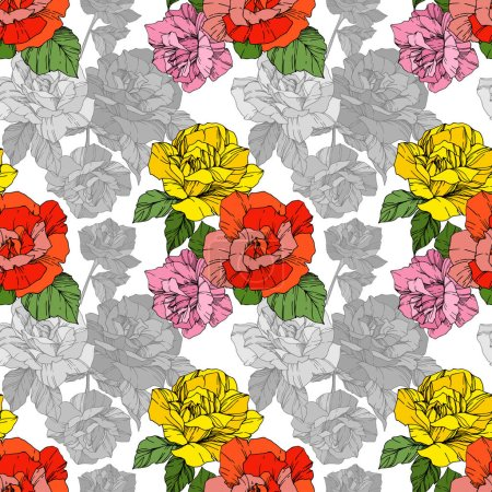 Illustration for Beautiful vector roses. Orange and yellow color engraved ink art. Seamless background pattern. Fabric wallpaper print texture. - Royalty Free Image