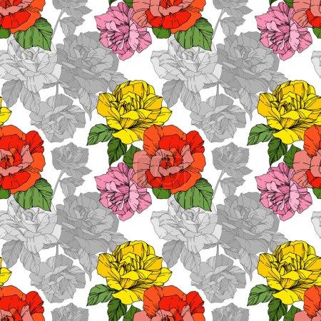 Illustration pour Roses de beau vecteur. Couleur orange et jaune gravé art d'encre. Motif de fond transparente. Impression texture de tissu papier peint. - image libre de droit