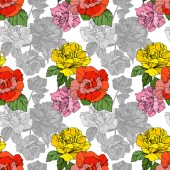 Beautiful vector roses Orange and yellow color engraved ink art Seamless background pattern Fabric wallpaper print texture