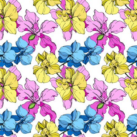 Illustration for Beautiful yellow, blue and pink orchid flowers. Seamless background pattern. Fabric wallpaper print texture on white background. - Royalty Free Image