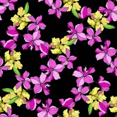 Beautiful yellow and pink orchid flowers Seamless background pattern Fabric wallpaper print texture on black background