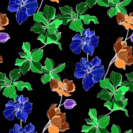 Illustration for Beautiful blue, orange and green orchid flowers. Engraved ink art. Seamless background pattern. Fabric wallpaper print texture on black background. - Royalty Free Image