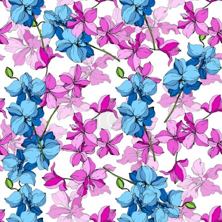 Illustration for Beautiful blue and pink orchid flowers. Engraved ink art. Seamless background pattern. Fabric wallpaper print texture on white background. - Royalty Free Image
