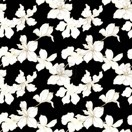 Illustration for Beautiful orchid flowers. Black and white engraved ink art. Seamless background pattern. Fabric wallpaper print texture on black background. - Royalty Free Image