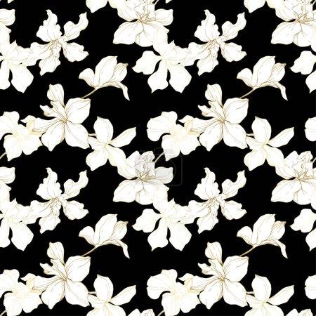 Ilustración de Hermosas flores de orquídeas. Blanco y negro había grabado arte de tinta. Patrón de fondo transparente. Fondo de pantalla de tela imprimir la textura sobre fondo negro. - Imagen libre de derechos