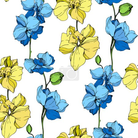 Illustration for Beautiful yellow and blue orchid flowers. Engraved ink art. Seamless background pattern. Fabric wallpaper print texture on white background. - Royalty Free Image